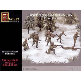 1/72 WW2 Russian Infantry (Winter) Box (Pegasus)