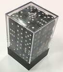 Opaque 12mm Dice w/ Rounded Corners (36 Pack) Black w/ white Pips