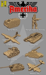 thumbnail picture of tan Allies pieces from the re-release of HBG;s Amerika game