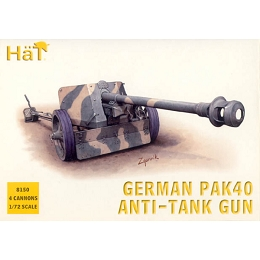1/72 WWII German PaK 40 Anti-Tank Gun (4) (HaT)