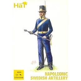 1/72 Napoleonic Swedish Artillery (16 w/4 Cannons) (HaT)