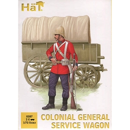 1/72 Colonial General Service Wagon (3 Sets: Wagon, 2 Horses & 2 Figs) (HaT)