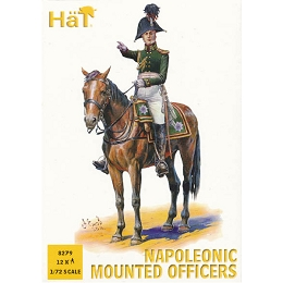 1/72 Napoleonic Mounted Officers (12) (Hat)