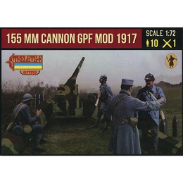 1/72 WWI Canon de 155mm GPF mle 1917 with French Late War Crew in Winter Dress (STR)