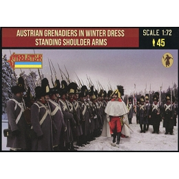 1/72 Napoleonic Austrian Grenadiers in Winter Dress Standing Shoulder Arms (STR)