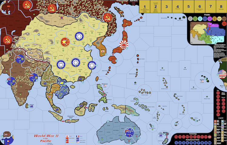 axis and allies pacific map Wwii In The Pacific Vinyl Map Electronic Rules axis and allies pacific map