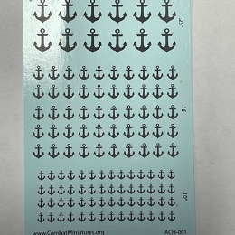 ACH-001 (1/300-1/600) Anchor Silhouette in Black Water Slide Decals