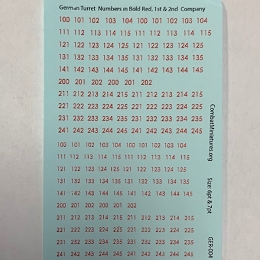 GER-004 Decal Sheet-1/300-1/600 German Turret Numbers in Red w/ Outline