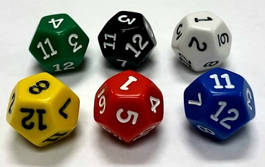 12 Sided Die (x5)