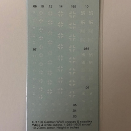 GR-106 Decal Sheets,  Low vis Crosses & Swastikas
