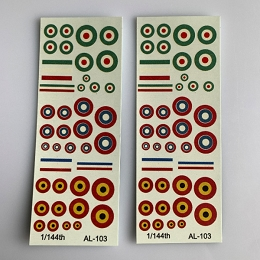 AL-103 Decal Sheet, Roundals for Russian, Italian & Belgian aircraft 1/144