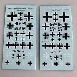 GR-119 Decal Sheets, German WWII Ju-87 / Hs-120 insignia
