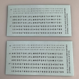 LB-101 Decal Sheet, Black Letter & Single Digit Numbers US Army & Airforce