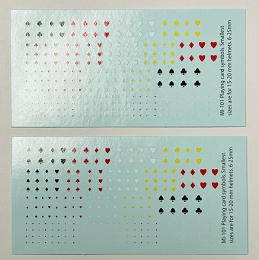 Playing Cards Suits/Symbols, 4 colors,1/285, 1/300,12mm,15mm,20mm, Decal Sheets (MI-101)