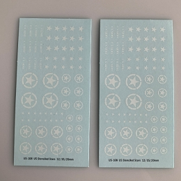 US-108 Decal Sheet, White Star w/ Red Stenciled Circle Armor
