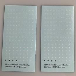 US-109 Decal Sheets, Stars in white for Armor