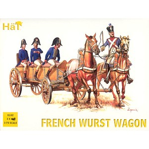 1/72 Napoleonic French Wurst Horse Drawn Wagon (3 sets) (HaT)