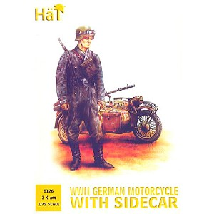 1/72 WWII German BMW Motorcycle w/Sidecar (3) & Soldiers (15) (HaT)