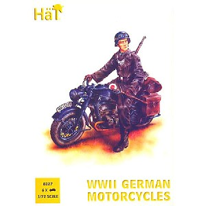 1/72 WWII German Motorcycles (6) & Soldiers (21) (HaT)