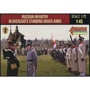 1/72 Napoleonic Russian Infantry in Overcoats Standing Order Arms (STR)