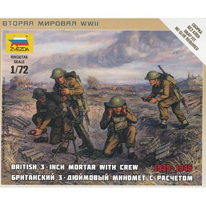 "1/72 British 3"" Mortar with Crew Box (Zvezda)"