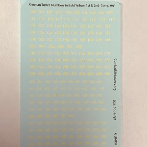 GER-007 Decal Sheet-1/300-1/600 German Turret Numbers in Yellow w/ Outline