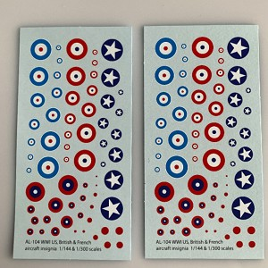 AL-104 Decal Sheet, Roundals for US, British & French aircraft 1/144, 1/200