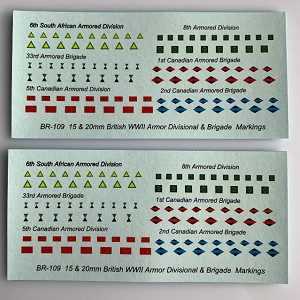 BR-109 Decal Sheet, British WWII Armor Division & Brigade Markings