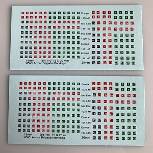 BR-110 Decal Sheets, British 1/100, 1/120, 15mm WWII Armor Brigade Marking