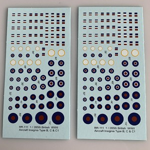 BR-111 Decal Sheets, British Type B, C, C1, 1/285, 1/300, 6mm Aircraft