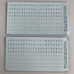 "BR-112 Decal Sheet, British WWII 1/300th aircraft, 24"" lettering in Sky and Medium Grey"
