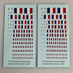 French Flags & Lorraine Cross, 1/285,1/300, 12mm, 15mm, 20mm Decal Sheets (FR-103)