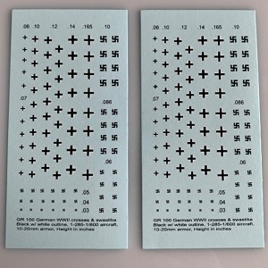 GR-100 Decal Sheet, German Crosses & Swastika, Armor & Aircraft