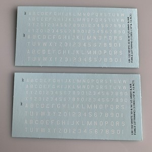 LW-102 Decal Sheet, White Letter & Single Digit Numbers US Army & Airforce