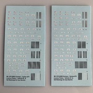 MI-109 Decal Sheet, CMotor transport and AFV license numbers