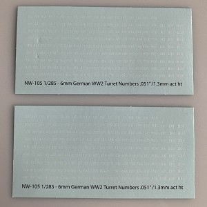 NW-105 Decal Sheets, White Lettering