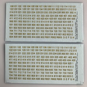NY-101 Decal Sheet, AFV Numbers. Black outline, yellow center