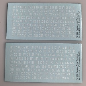 RU-106 Decal Sheets,  Russian WWII 'Cryllic style' numbers