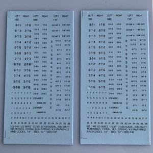 US-140 Decal Sheet, US WW2 Carrier aircraft markings, Coral Sea- Torch. Black lettering