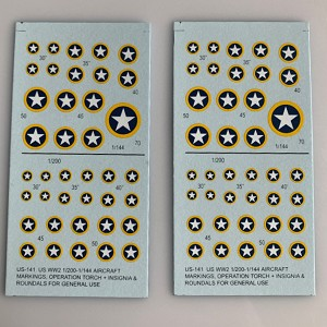 US-141 Decal Sheet, US WW2 white star/ blue field / yellow surround